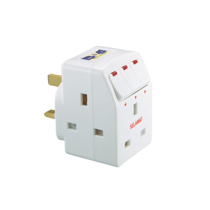 Selamat 3-Way Multi-Adaptor with LED Switch 1 unit