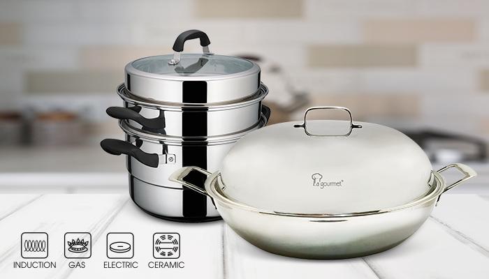 La Gourmet 36 centímetros de aço inoxidável Wok & 28cm de duas camadas de aço inoxidável Steamer Pot_700x400